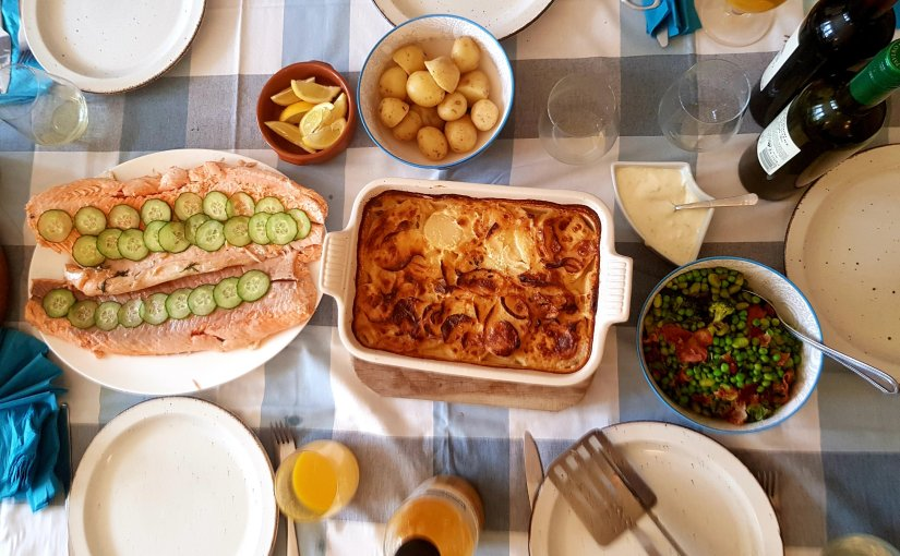 Entertaining: Spring Menu for 10 – Poached salmon with Dauphinose potatoes and more