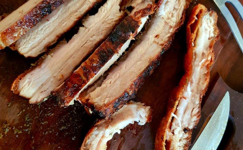 Slow-roast pork belly with celeriac & pearmash