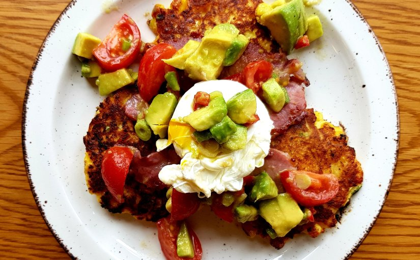 Sweetcorn & Halloumi fritters with avocado salsa and poachedeggs