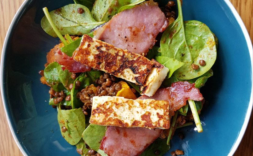 Lentil, squash, halloumi and bacon salad