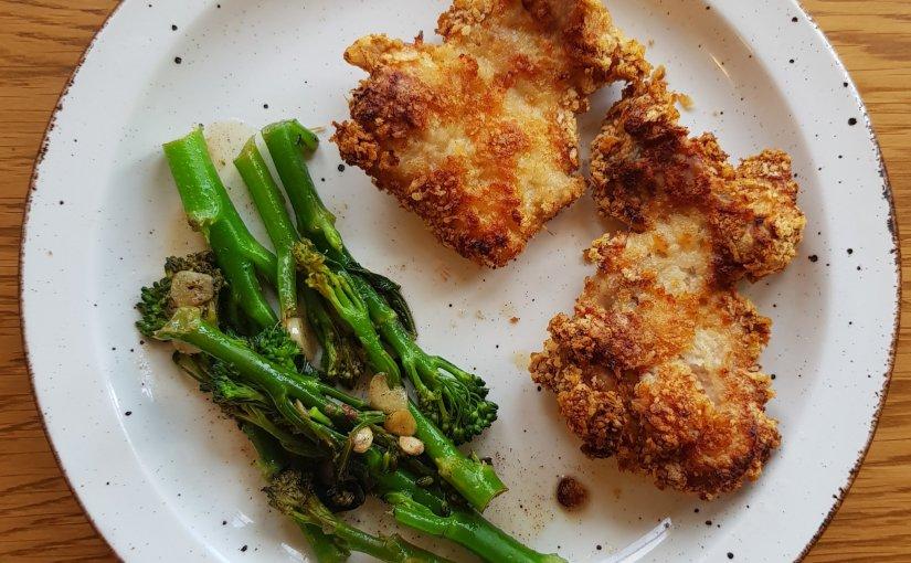 Crisp Parmesan chicken with garlic and lemonbroccoli