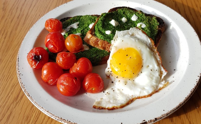 Jamie Oliver's Popeye Toast and Eggs