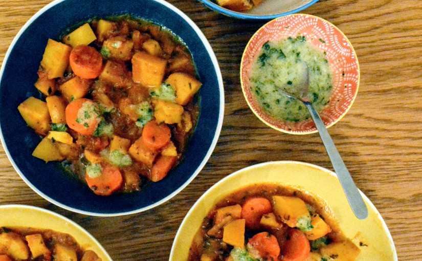 Yotam Ottolenghi's Hawaij root vegetable stew with whippedfenugreek