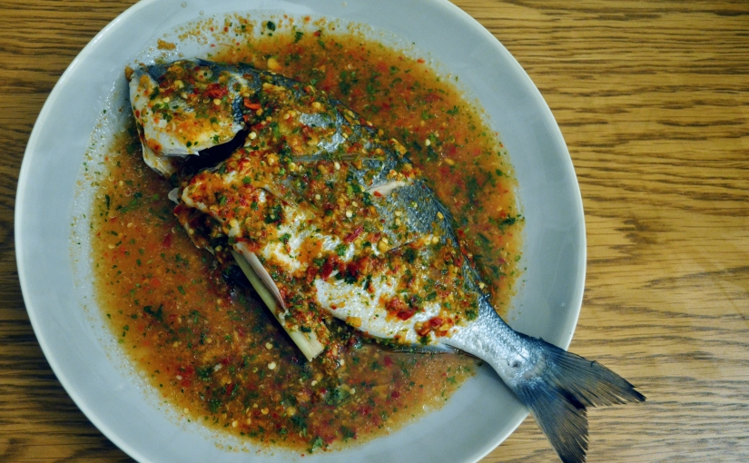 Andy Oliver & Mark Dobbie's steamed sea bream with chilli, lime and lemongrass