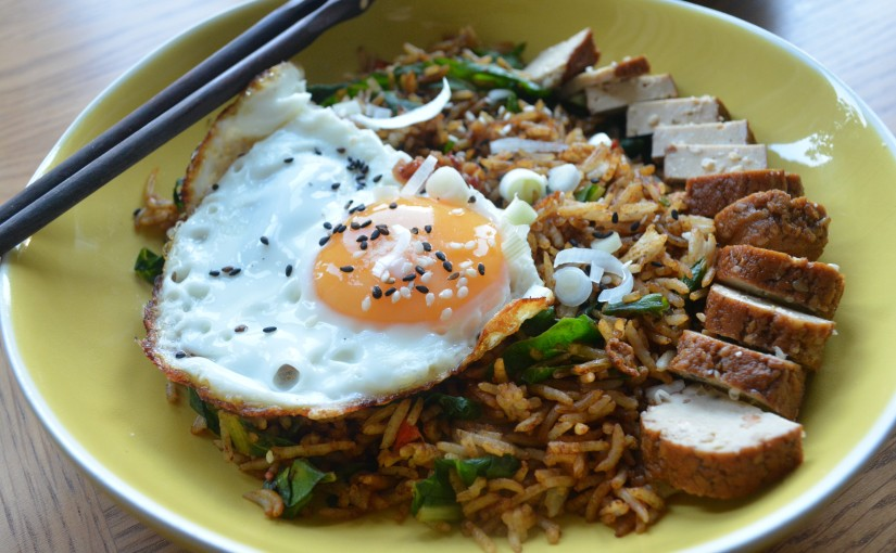 Fried rice with greens &eggs
