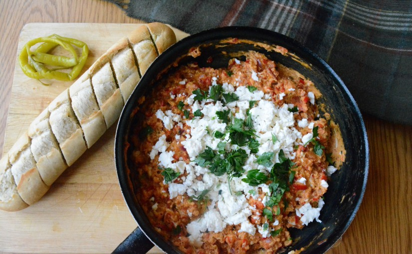 Menemen with peppers and feta