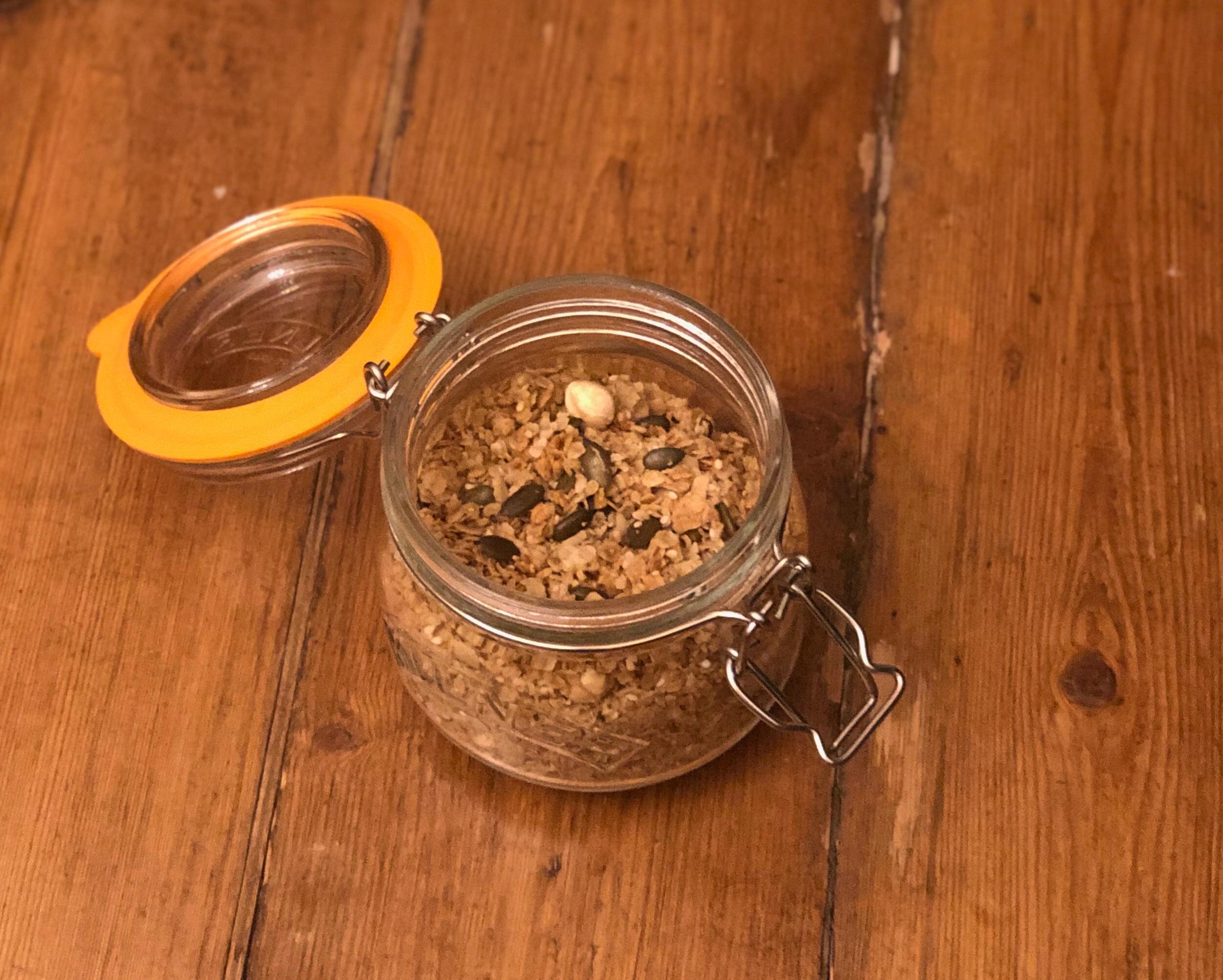 Spelt, hemp seed and lemon zest granola