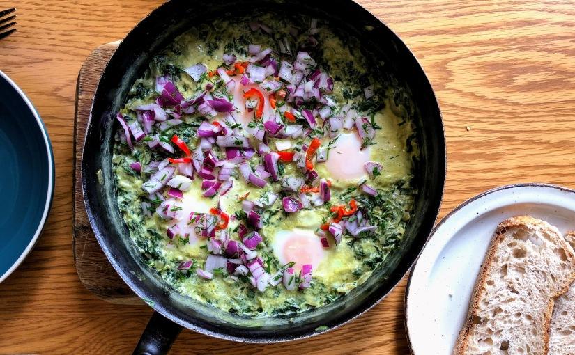 Rachel Khoo's Stewed Spinach Eggs (Ägg med stuvadspenat)
