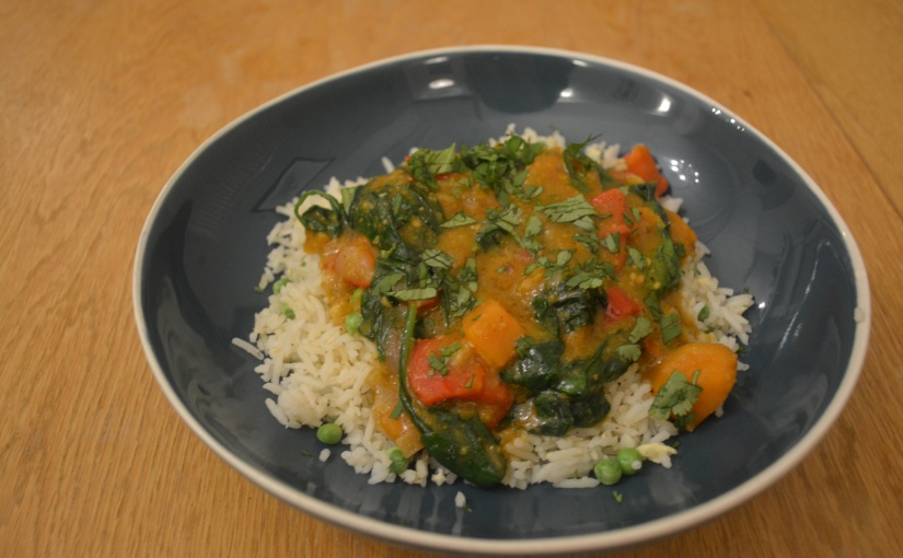 Quick spinach, sweet potato and coconut stew + bonus Korma Paste recipe