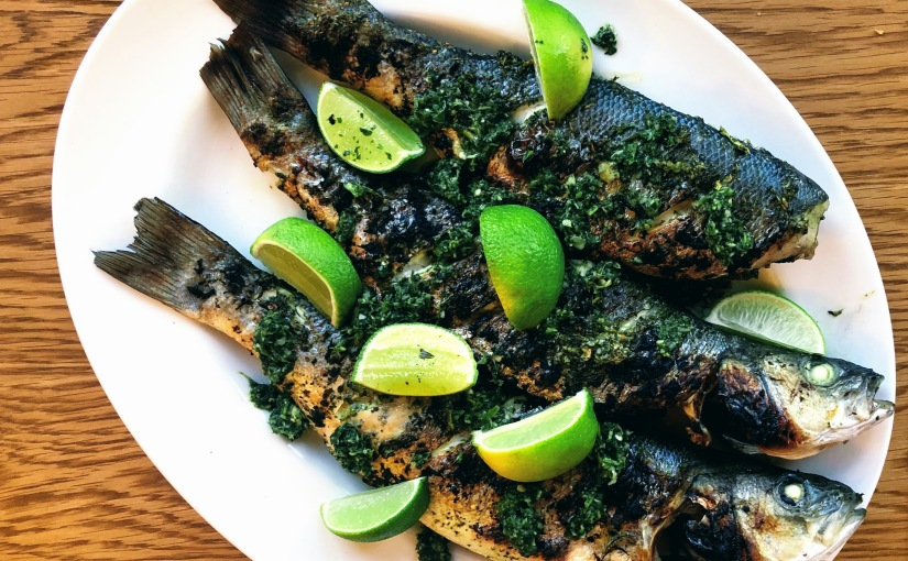 Herb-Marinated Grilled Sea Bass