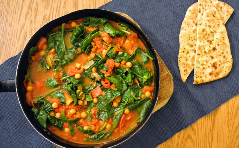Chickpea, tomato and spinachcurry