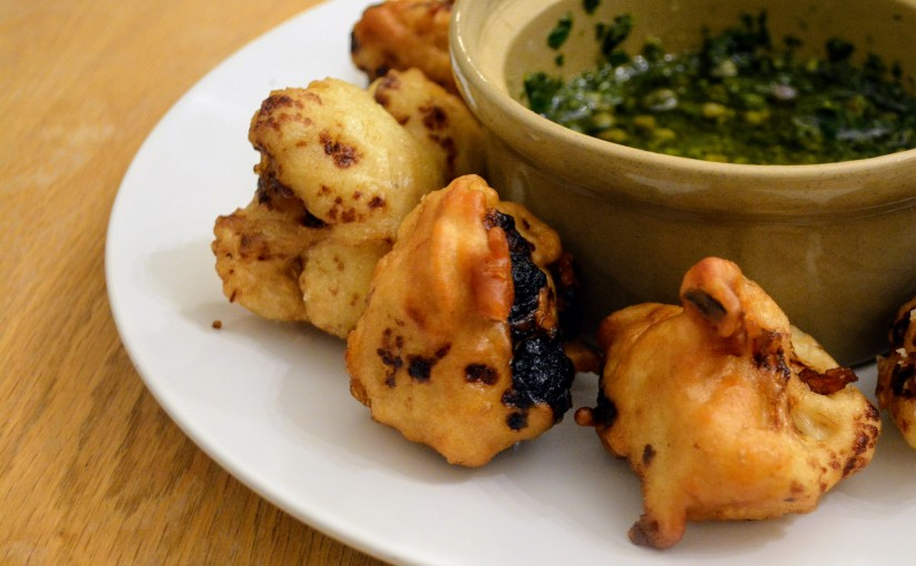 Cauliflower fritters with herby dipping sauce