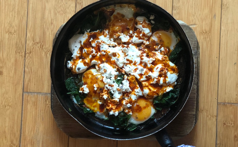 Turkish eggs with spinach, yogurt & feta