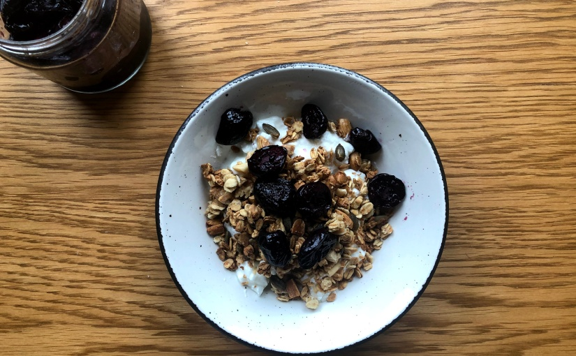Granola with roasted cherries