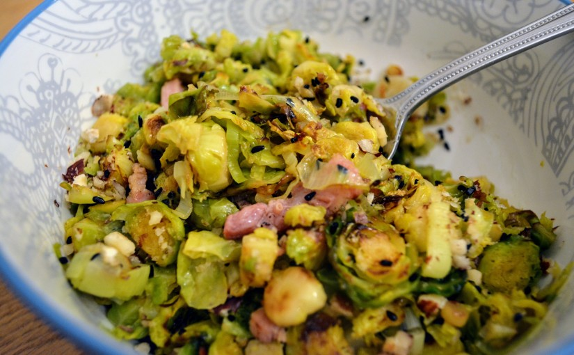 Brussels sprouts with bacon, leek and Nigella seeds