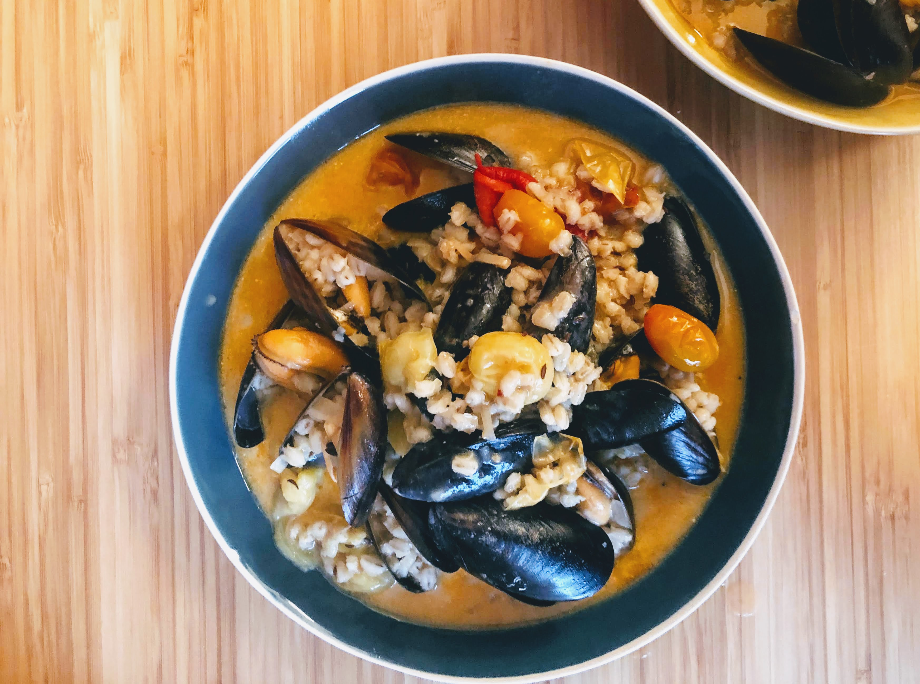 photo of mussels and barley stew